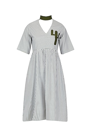 Green Cactus Patchwork Swing Style Dress by Olio