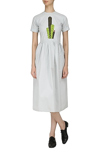 Mint Cactus Patchwork Maxi Dress by Olio