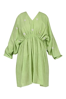 Green Pleated Kaftan Dress by Olio