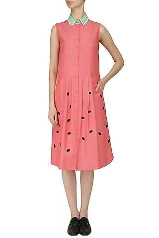 Coral Button Down Drop Waist Dress by Olio