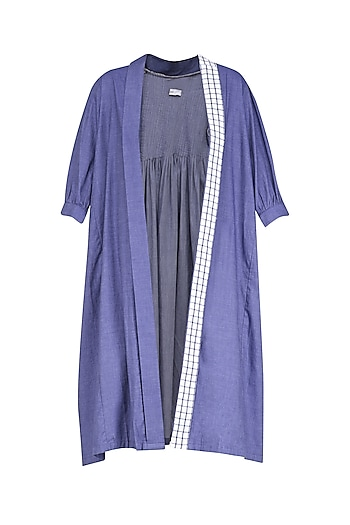 Indigo Blue Front Open Duster Coat by Olio