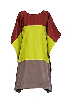 Maroon, Green and Grey Color Block Loose Fitted Dress by Olio