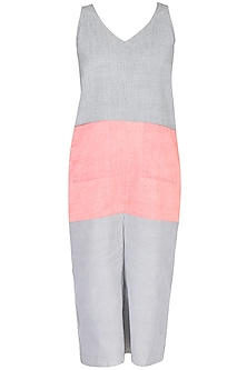 Grey And Orange Colour Block Wide Legged Crop Jumpsuit by 1920