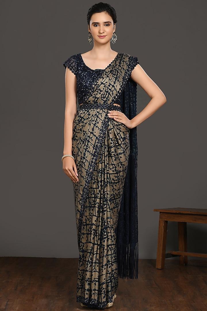 Beige & Blue Ajrakh Printed Saree Set by Onaya