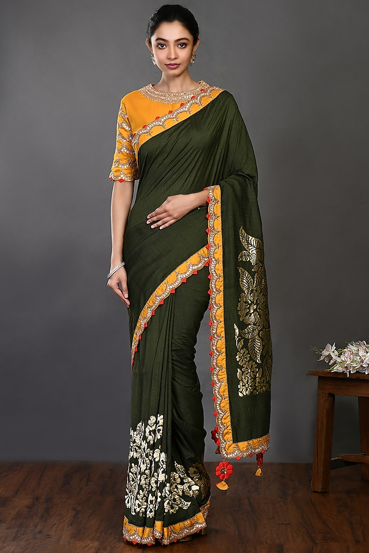Olive Green Embroidered Saree Set by Onaya