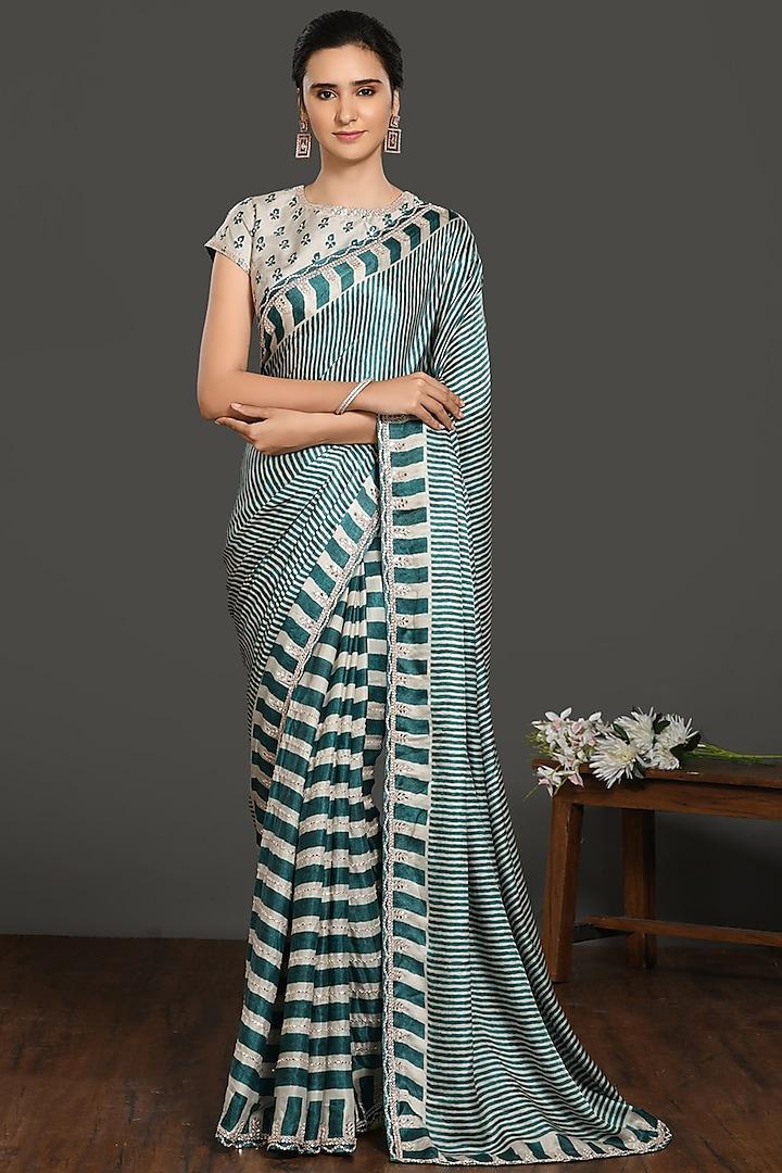 Dark Teal & Ivory Printed Saree Set by Onaya