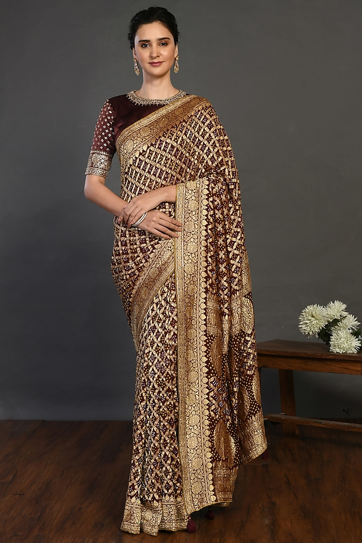 Brown Saree Set With Cutdana Work by Onaya