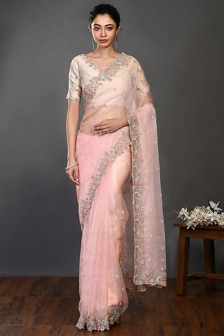 Peach Saree Set With Moti Work by Onaya