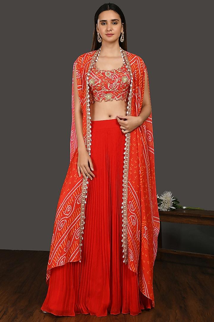 Red Bandhani Skirt Set by Onaya