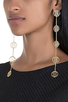 Gold Polish Round Dangler Earrings by One Nought One One