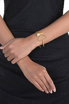 Gold Polish Handcrafted Geometric Wire Bracelet by One Nought One One