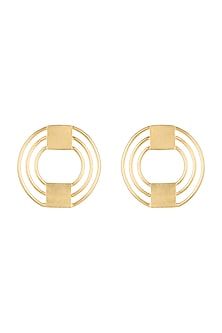 Gold Polish Geometric Mini Stud Earrings by One Nought One One
