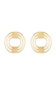 Gold Polish Geometric Mini Stud Earrings by One Nought One One