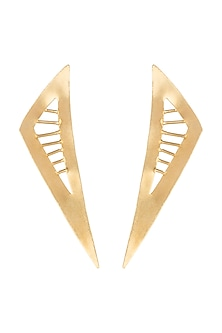 Gold Polish Triangular Earrings by One Nought One One