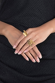 Gold Polish Adjustable Geometric Rings by One Nought One One
