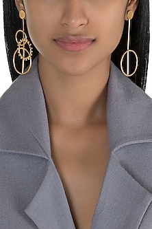 Gold Polish Handcrafted Mismatch Earrings by One Nought One One