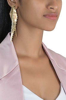 Gold Polish Two Piece Detachable Earrings by One Nought One One
