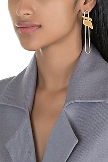 Gold Polish Handcrafted Minimal Earrings by One Nought One One