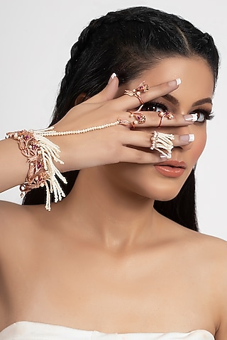 Rose Gold Plated Pearl Hand Harness With Rings by Opalina