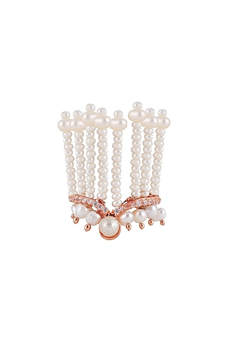 Rose Gold Plated Pearl Ring by Opalina