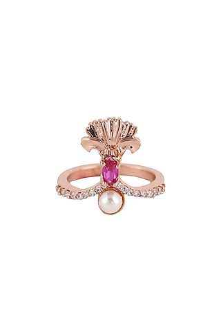 Rose Gold Plated Swarovski Crystal Engraved Ring by Opalina