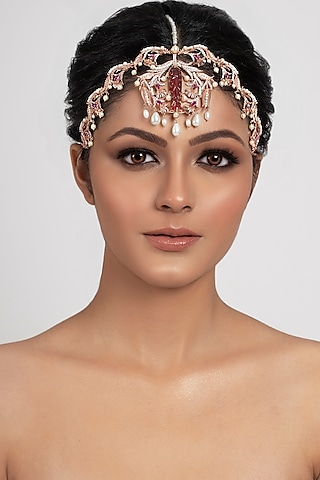 Rose Gold Plated Swarovski Crystal & Pearls Carved Head Piece by Opalina