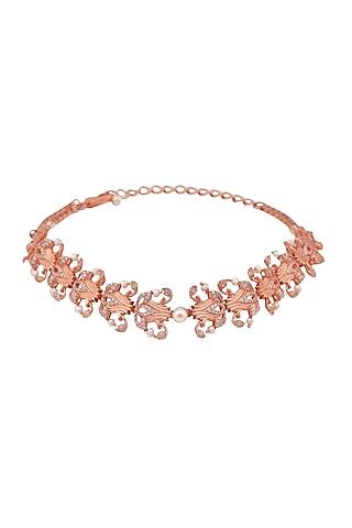 Rose Gold Plated Swarovski Crystal Leaf Necklace by Opalina