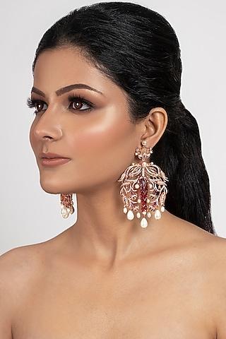 Rose Gold Plated Swarovski Crystal & Pearls Dangler Earrings by Opalina
