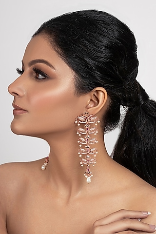 Rose Gold Plated Pearls Leaf Dangler Earrings by Opalina