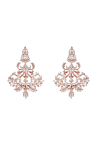 Rose Gold Plated Pearls Dangler Earrings by Opalina