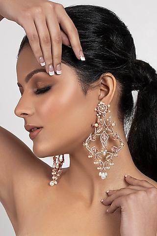 Rose Gold Plated Swarovski Crystal & Pearl Leaf Dangler Earrings by Opalina