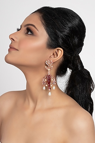 Rose Gold Plated Swarovski Crystal & Pearl Earrings by Opalina