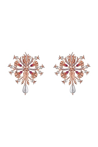 Rose Gold Plated Swarovski Crystal Handcrafted Stud Earrings by Opalina