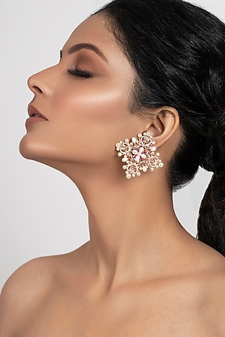 Rose Gold Plated Swarovski Crystal Studs Earrings by Opalina