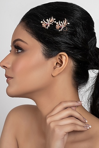 Rose Gold Plated Swarovski Crystal Floral Hair Pin by Opalina