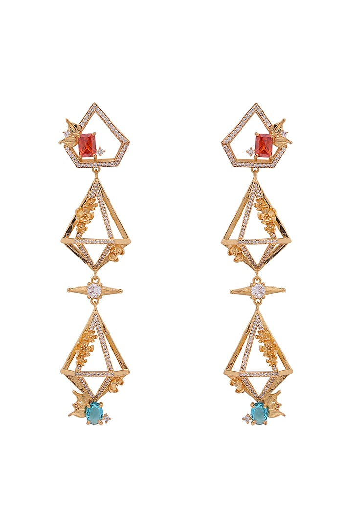Gold Plated Handcrafted Dangler Earrings by Opalina