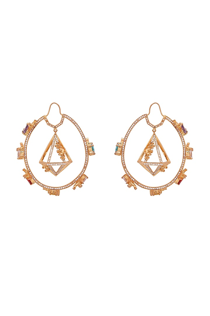 Gold Finish Pearl Handcrafted Hoop Earrings by Opalina