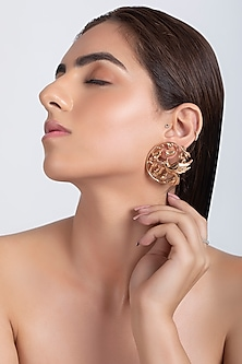 Rose Gold Plated Handcrafted Earrings by Opalina