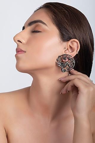 Gunmetal Finish Handcrafted Earrings by Opalina