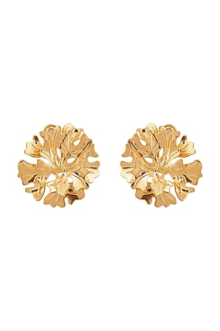Gold Plated Floral Stud Earrings by Opalina
