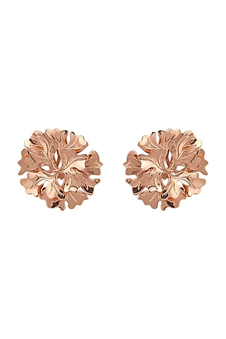 Rose Gold Plated Stud Earrings by Opalina