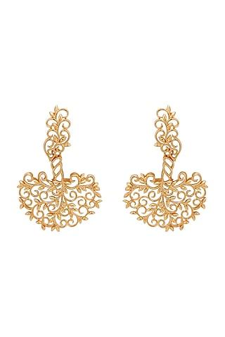 Gold Plated Long Earrings by Opalina