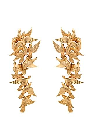 Matte Gold Plated Bird Long Earrings by Opalina