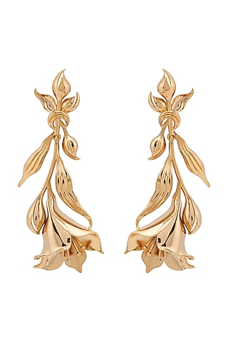 Gold Plated Floral Long Earrings by Opalina