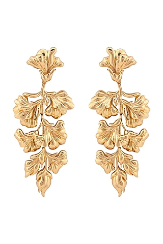 Gold Plated Floral Earrings by Opalina