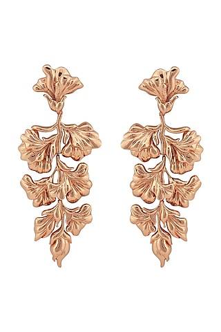 Rose Gold Plated Floral Earrings by Opalina