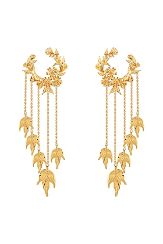 Gold Plated Handcrafted Wreath Earrings by Opalina