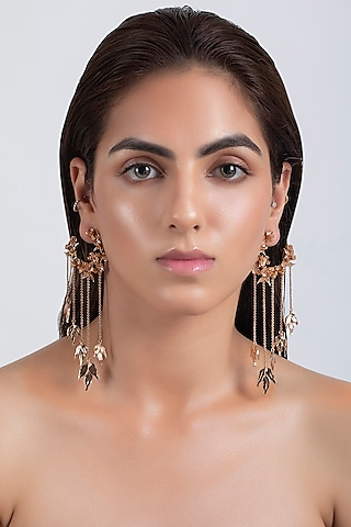 Rose Gold Plated Handcrafted Wreath Earrings by Opalina