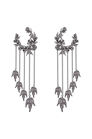 Gunmetal Finish Handcrafted Wreath Earrings by Opalina
