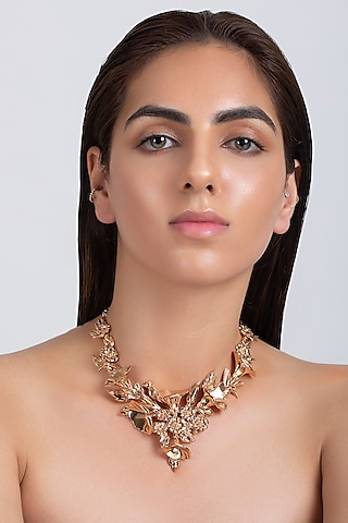 Rose Gold Plated Floral Necklace by Opalina
